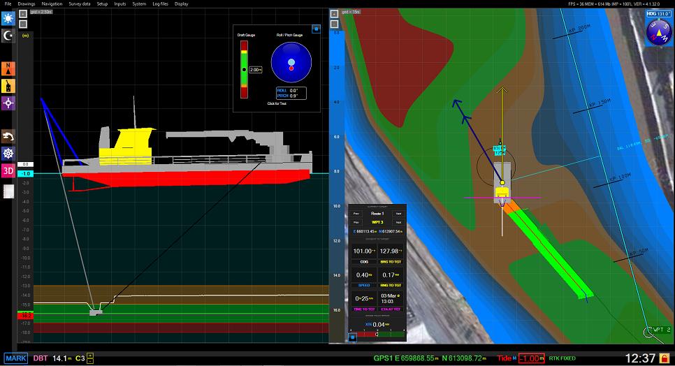 Dredge master software - Plough - top view